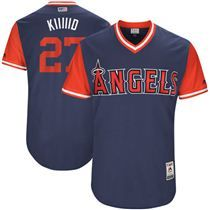 25 Men s Los Angeles Angels  27 Mike Trout -Kiiiiid- Majestic Navy  Stitched Nickname b49cf9f02