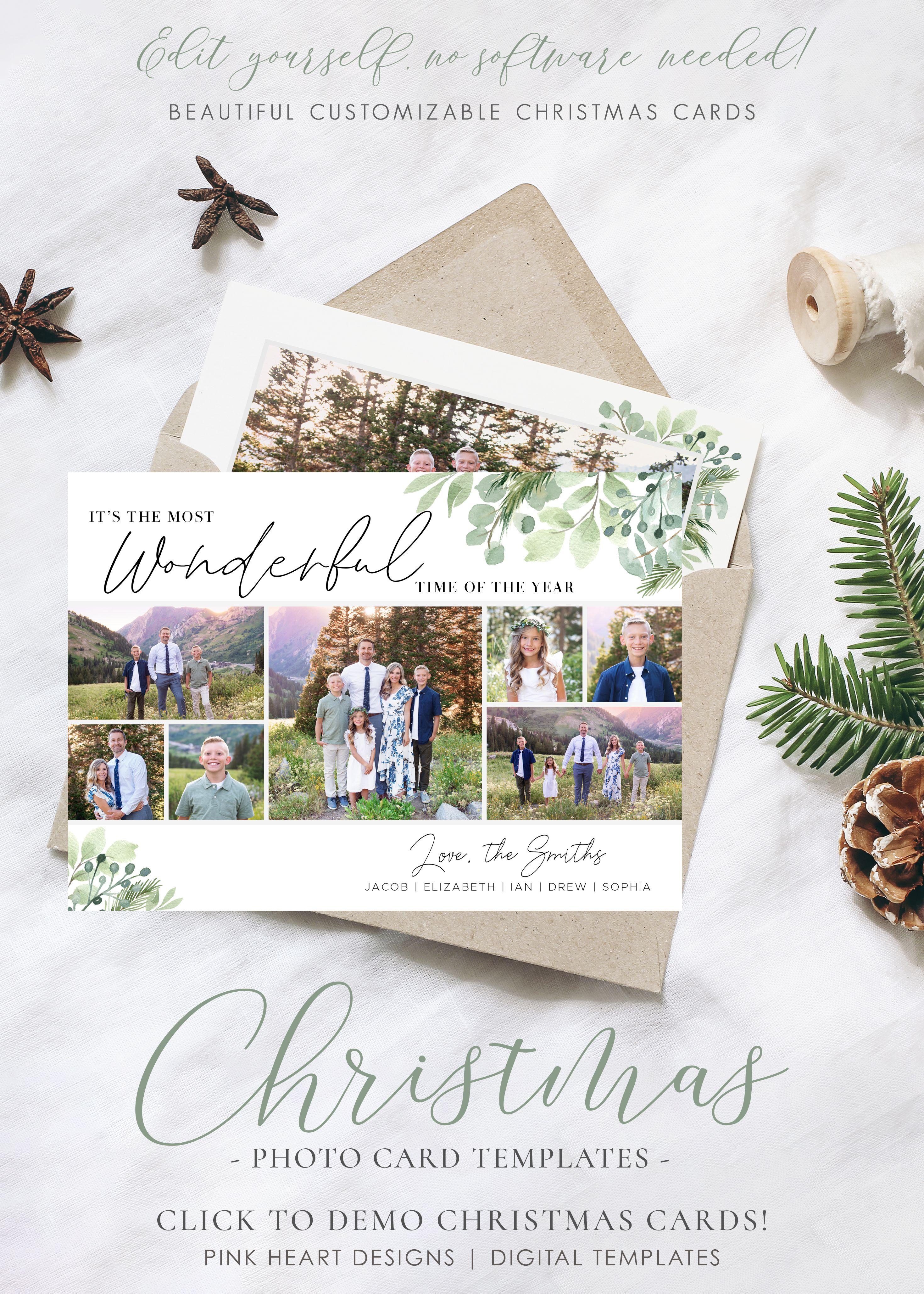 Greenery Christmas Card Template Christmas Cards Template Etsy Christmas Card Template Holiday Card Template Printable Holiday Card