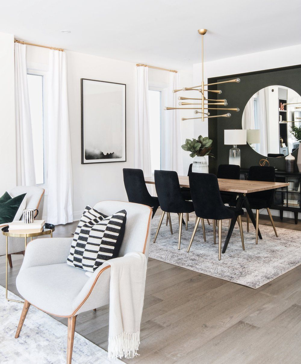 Modern but cozy living room and dining room design by Ottawa based