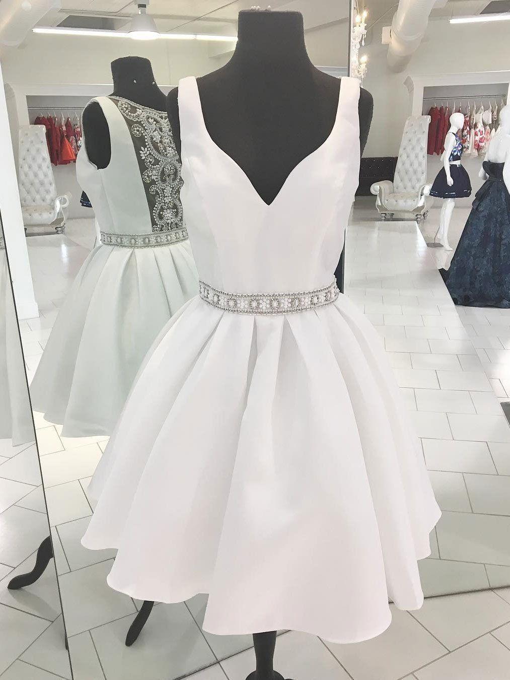 Sexy see through v neck short rhinestone white homecoming dresses