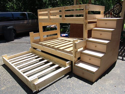 Twin Over Full Bunk Bed with Trundle and 5 Drawer Stair Dresser $890 TOTAL  (3