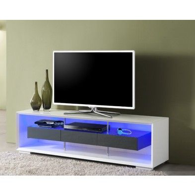Meuble Tv Lumineux Modulable Blanc Et Gris Con Imagenes