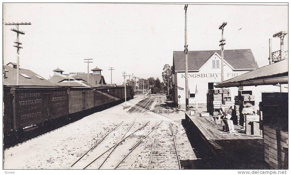 RP: Train at Fruit loading Platform & Railroad Depot , KINGSBURY , California , 00-10s - Delcampe.com