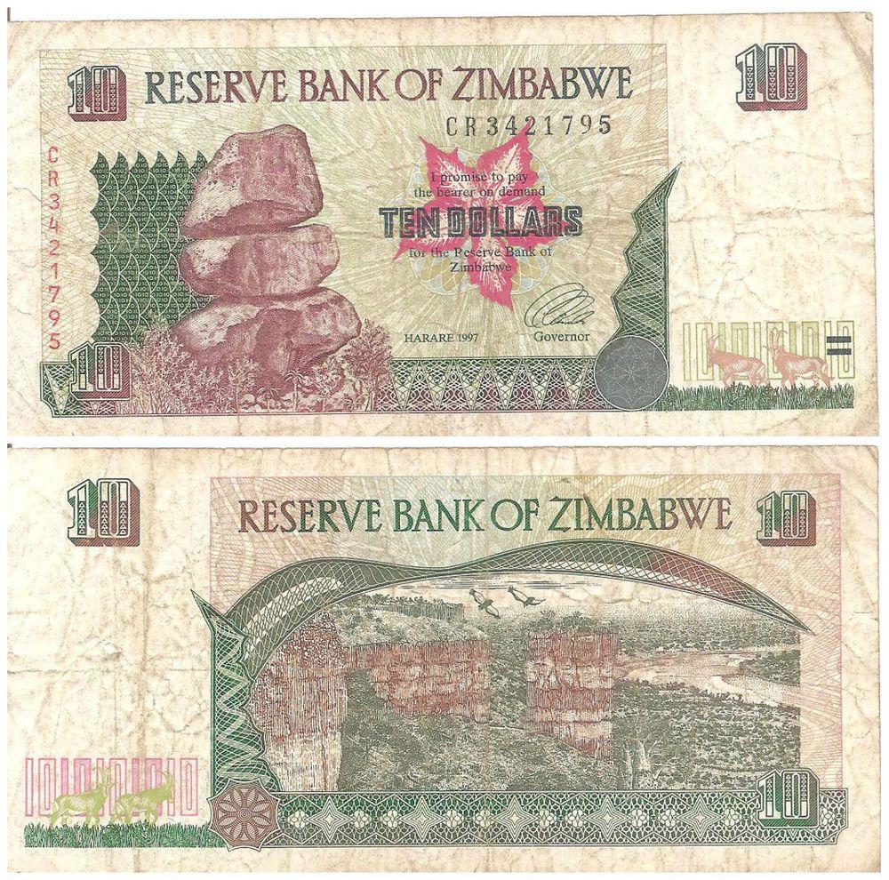 ZIMBABWE 10 DOLLARS 1997 P 6 UNC