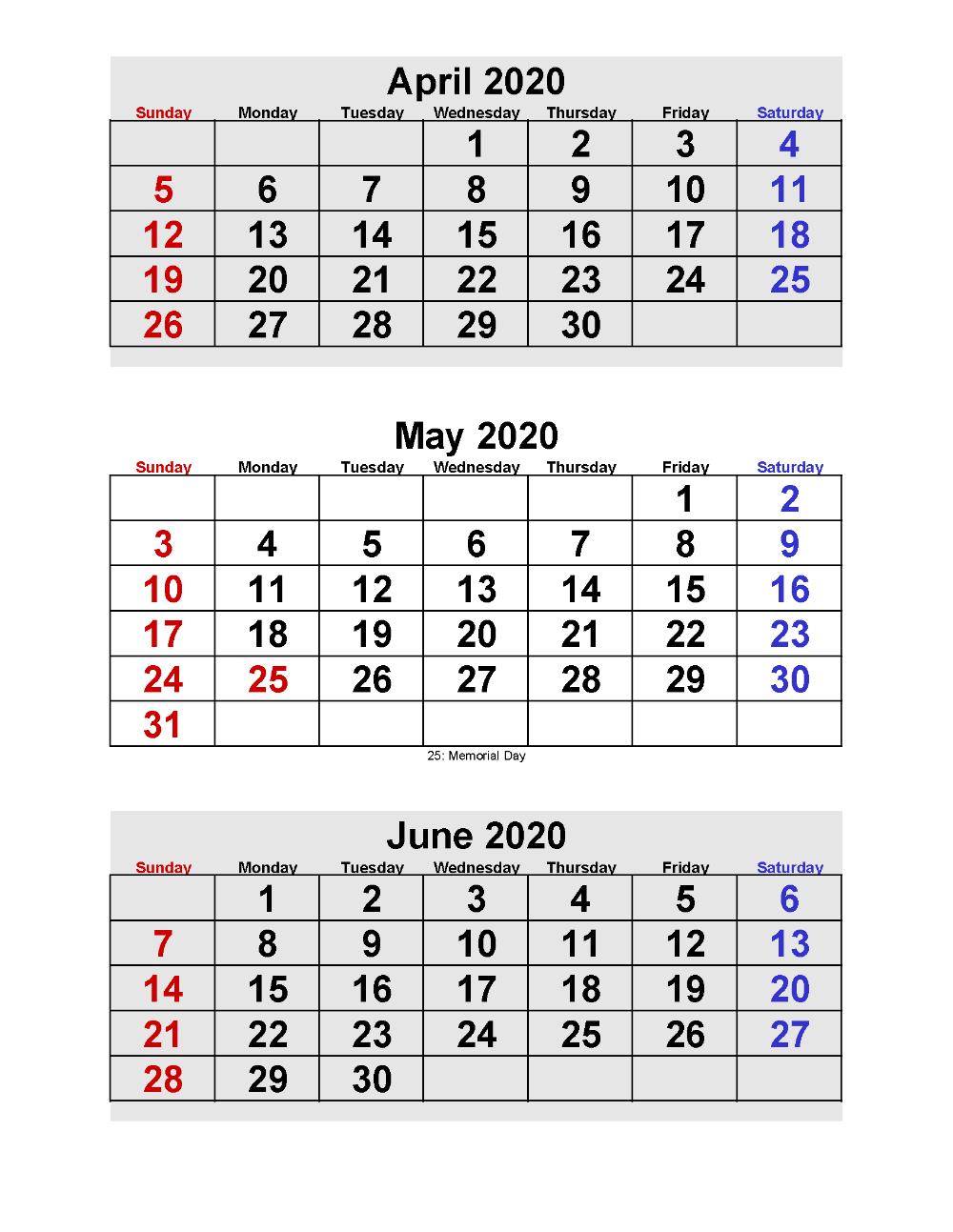 April May June 2020 Calendar 3 Months Per Page Printable Free Printable 2020 Calendar Templates Calendar Template Calendar Printables Personal Calendar