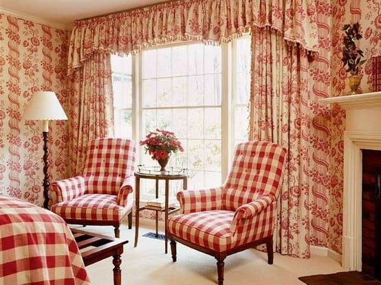 Red Toile Bedroom With Red Checked Upholstery And Linens.