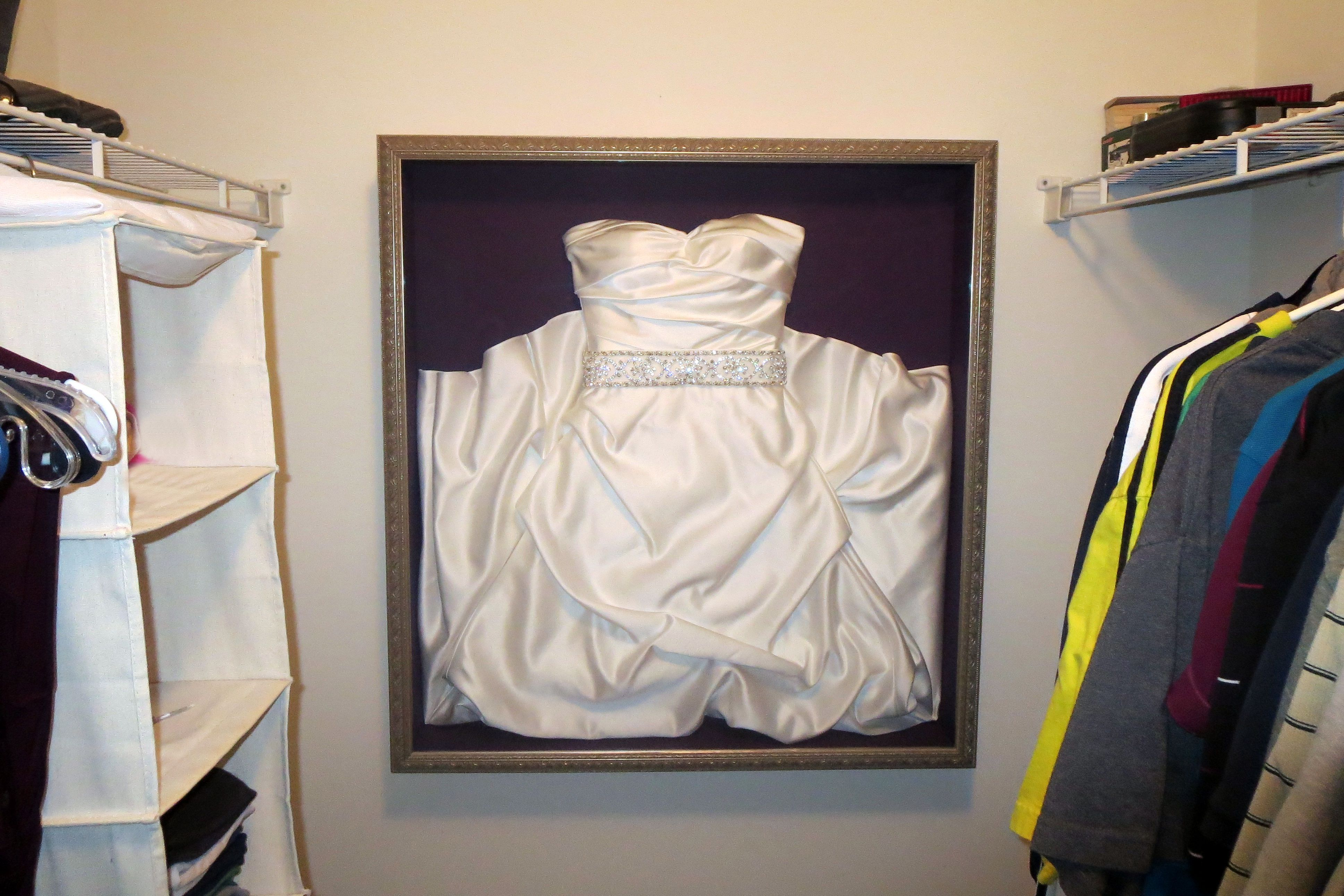 Elegant Framed my wedding dress and love seeing it in my closet every day Cool idea
