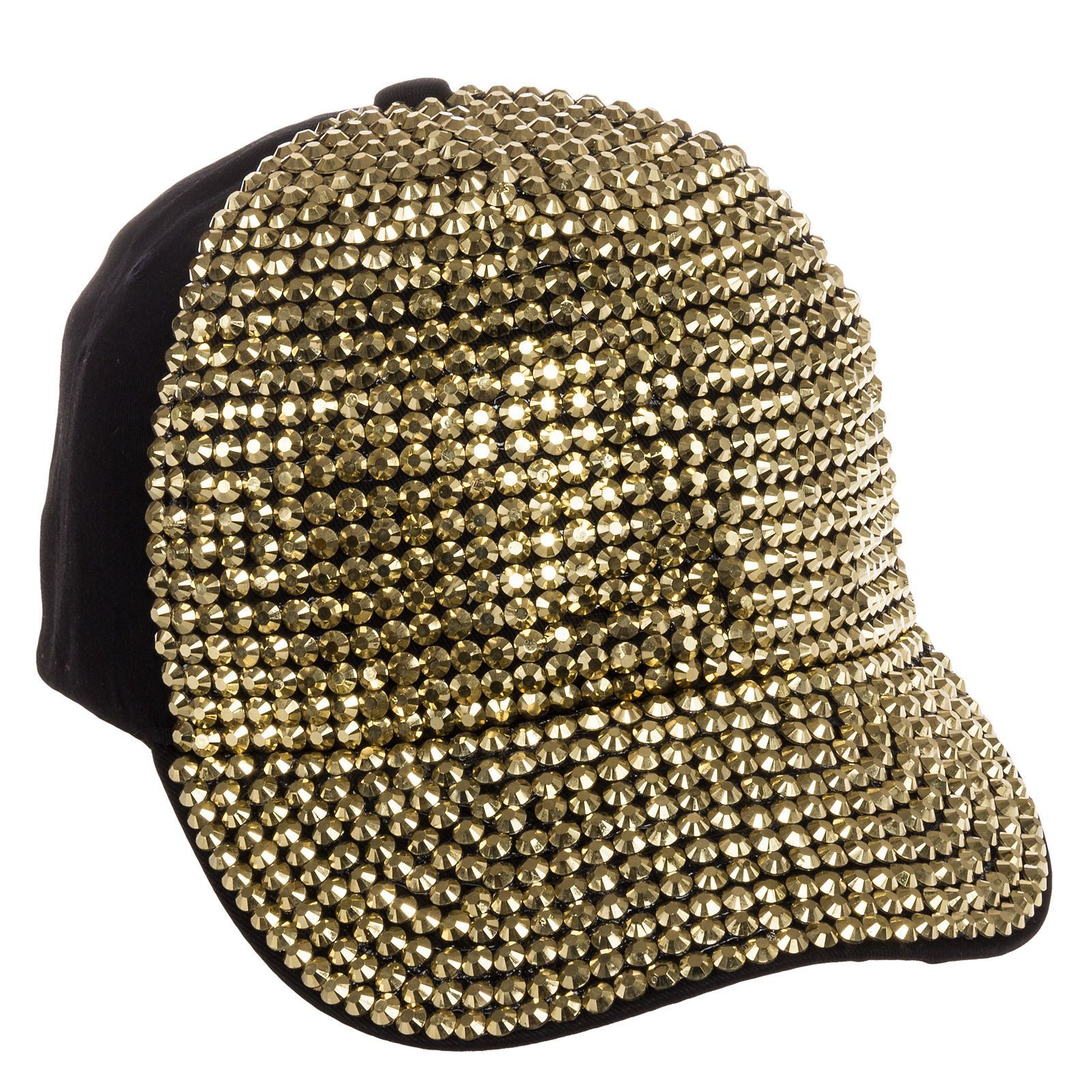 Crystal Case Black   Gold Cotton Bling Gold Rhinestone Studded Baseball Cap  Hat e286ef6224b