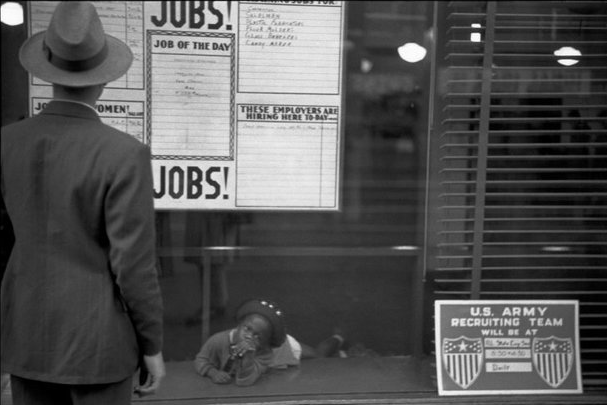 """Henri Cartier-Bresson  The Employment Office, Chicago   1947  """"Since his is fundamentally a tragic vision, he reacted most feelingly to..."""