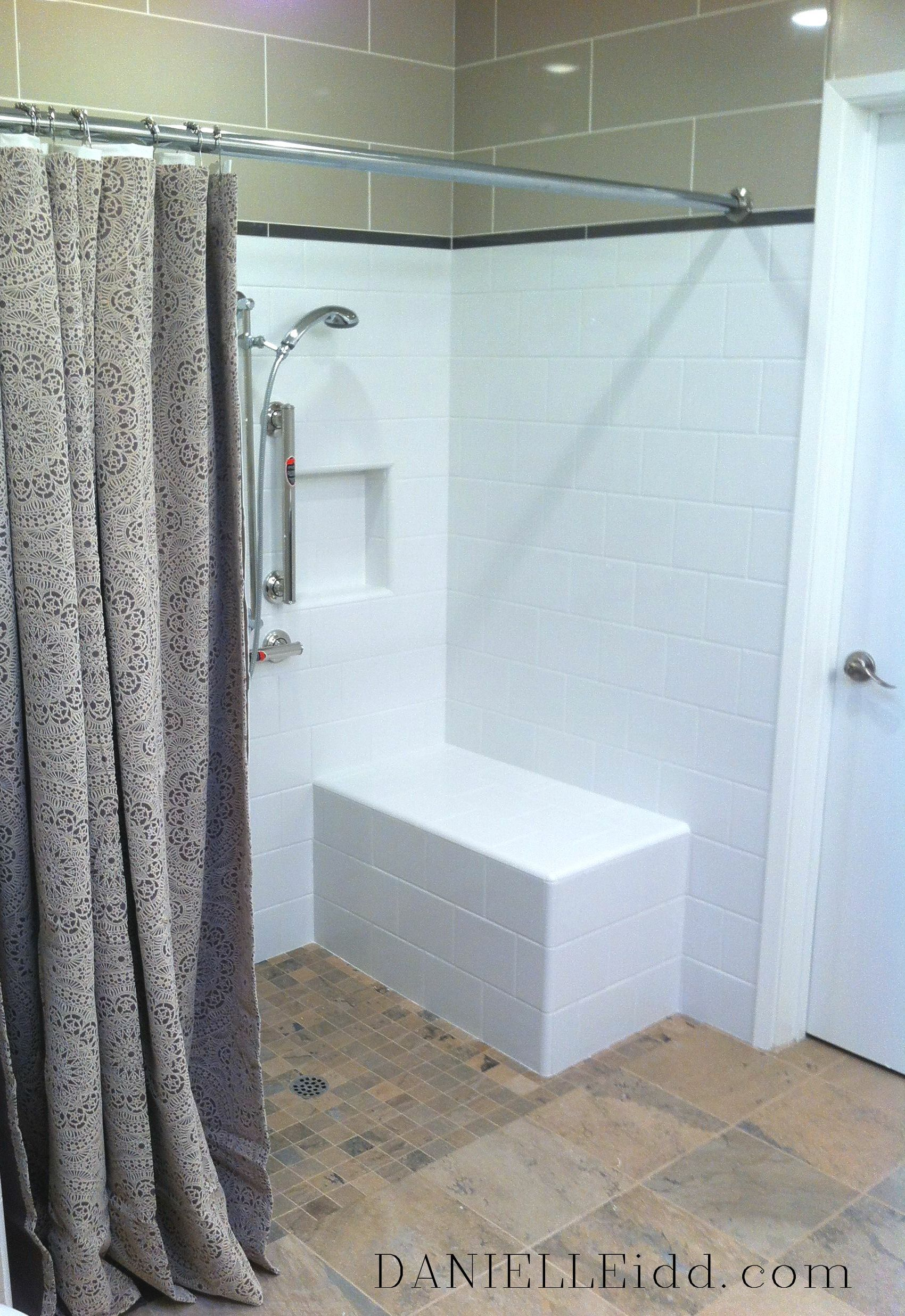 clean and crisp ADA Bathroom Remodel. (I\'d use sliding glass shower ...