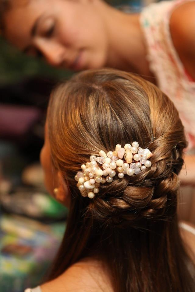 semirecogido tocado perlas pelo liso - Semirecogidos Pelo Liso