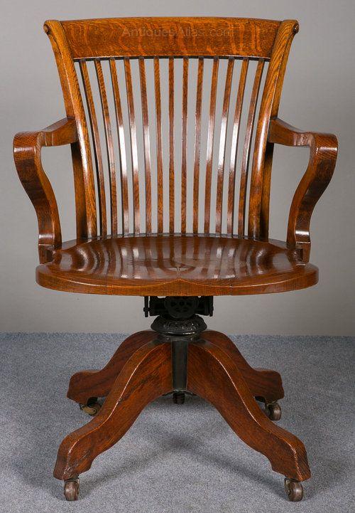 Oak Swivel U0026 Reclining Desk Chair.