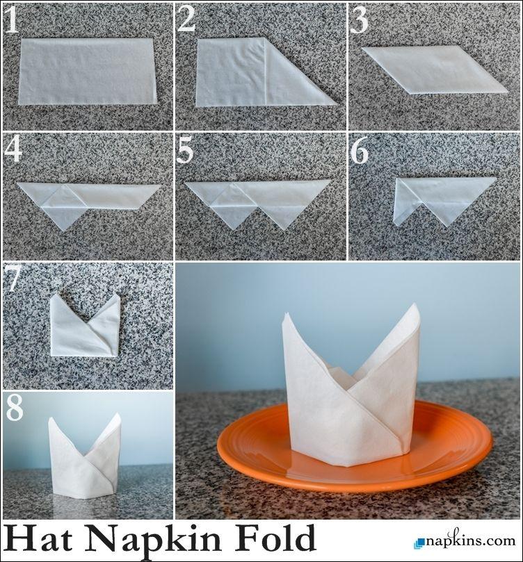 Bishop hat napkin fold how to fold a napkin pinterest - Paper napkin folding ideas ...
