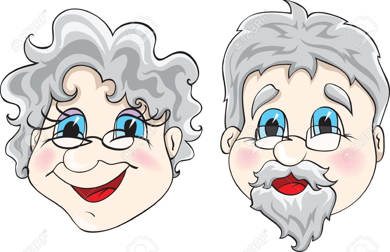 Caras De Abuelitos: Grandparents, Vector Art, Clip Art