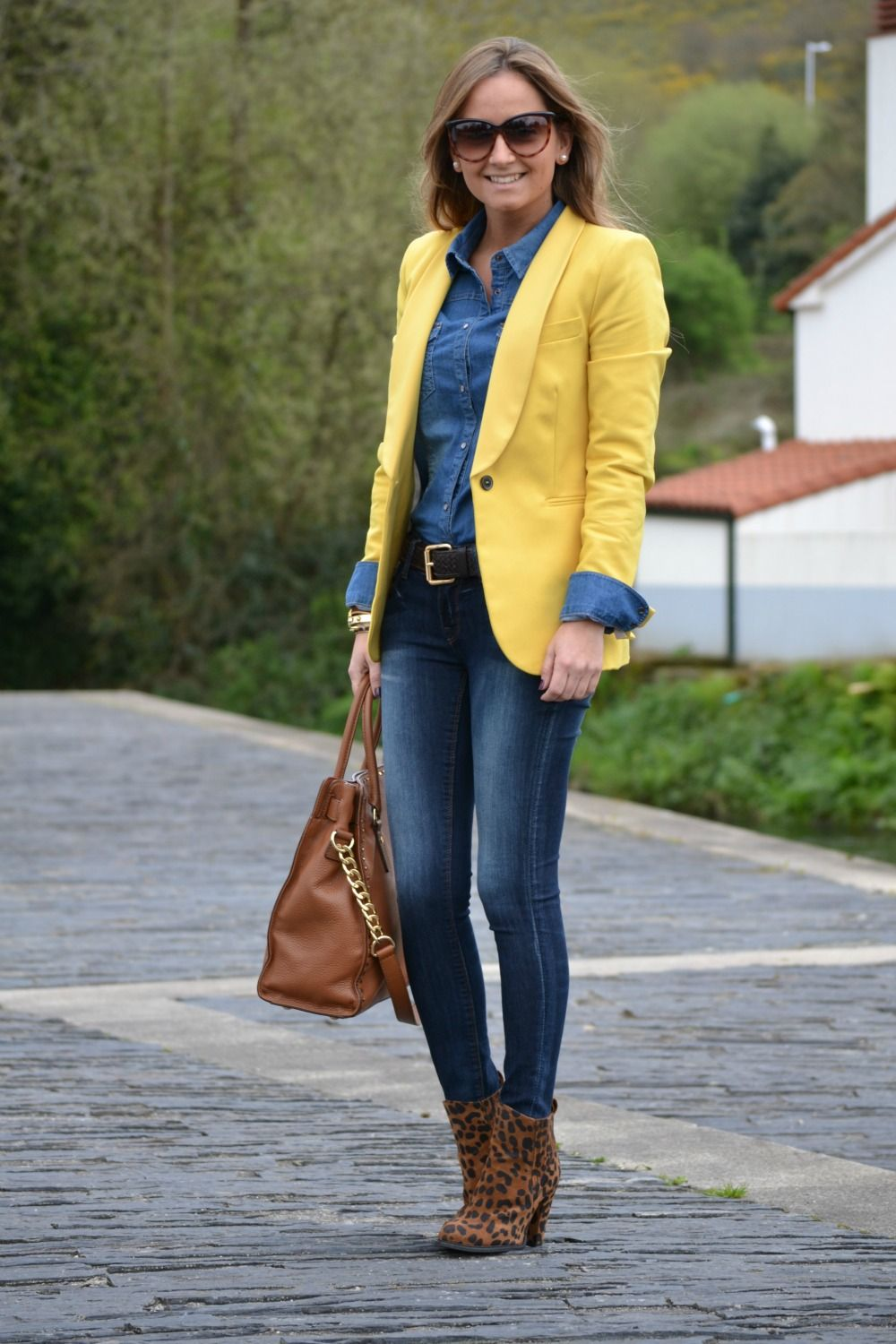 chambray yellow blazer denim outfit style me. Black Bedroom Furniture Sets. Home Design Ideas