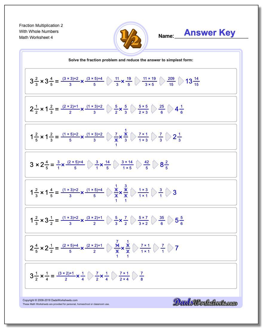 Fraction Multiplication Worksheets With Amazing Detailed Answer Keys Showing Cross Cancelling Reducing Steps Fractions Worksheets Fractions Division Fractions