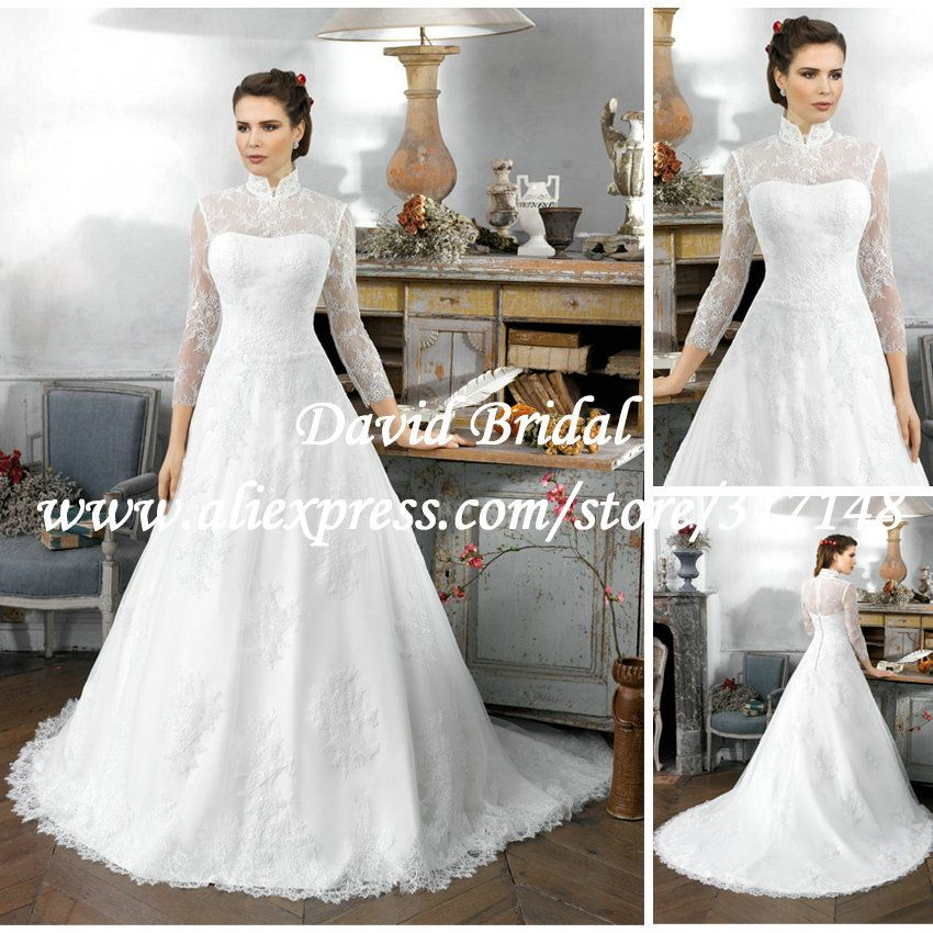 Arabic Style High Neck Long Sleeve Lace Wedding Dress Gowns A Line ...