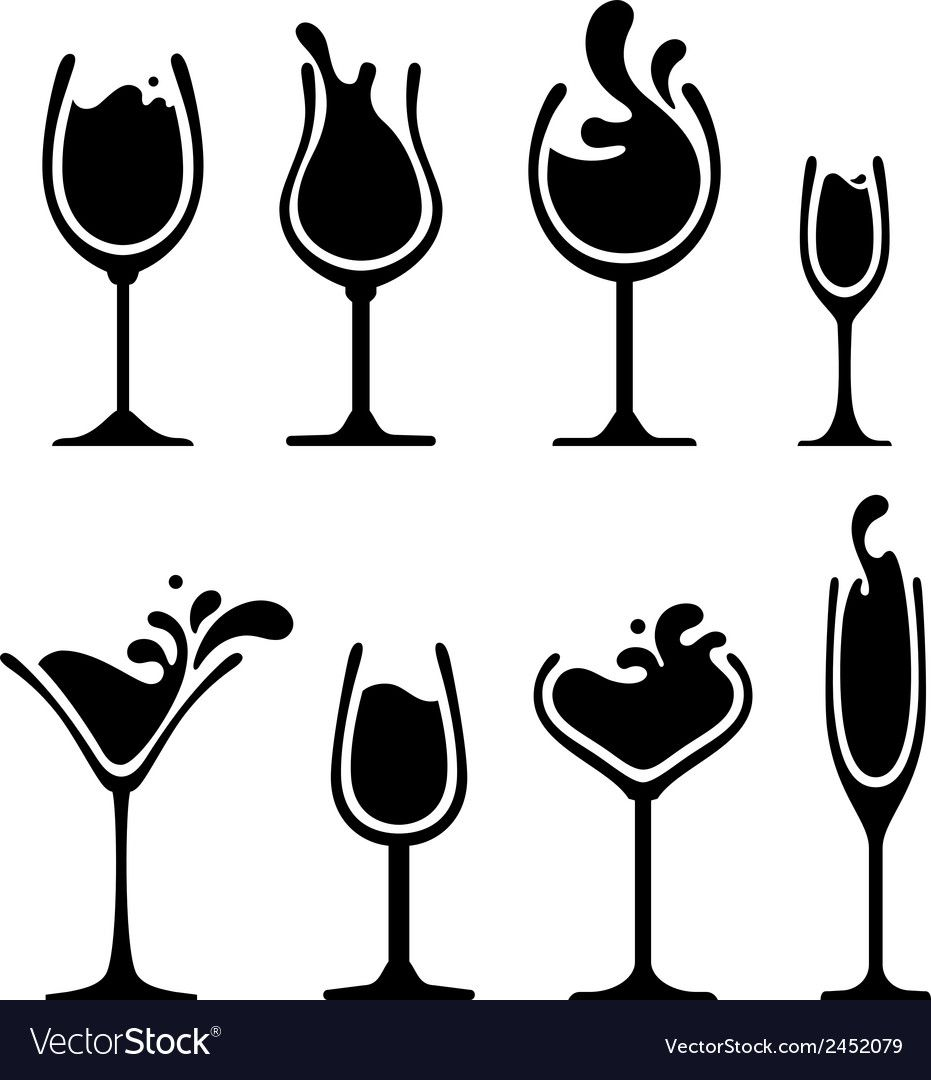 Set Of Black And White Splashing Drink On Glass Download A Free Preview Or High Quality Adobe Illustrator Wine Glass Drawing Wine Glass Images Bottle Drawing