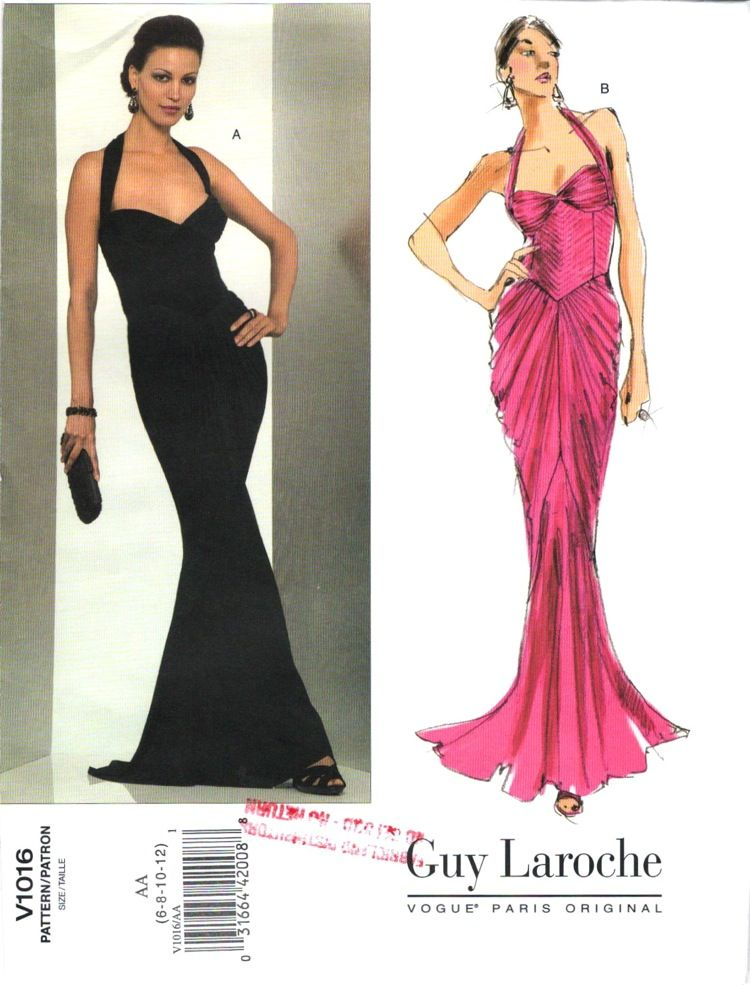 Vogue V1016 evening dress pattern by Hervé L. Leroux for Guy Laroche ...