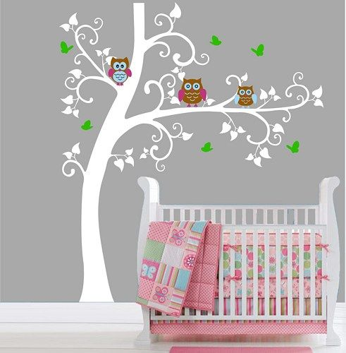 White Tree Owl Decal Baby Nursery Wall Erfly Owls Sticker