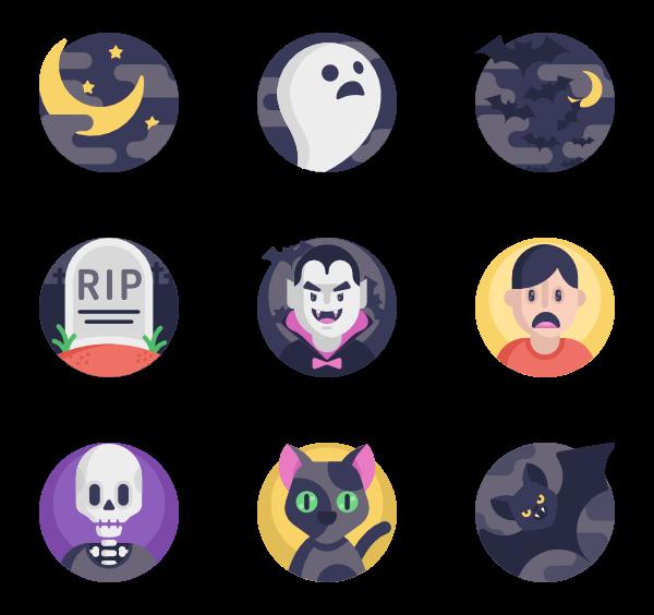 Circles Horror Icon Sticker Set