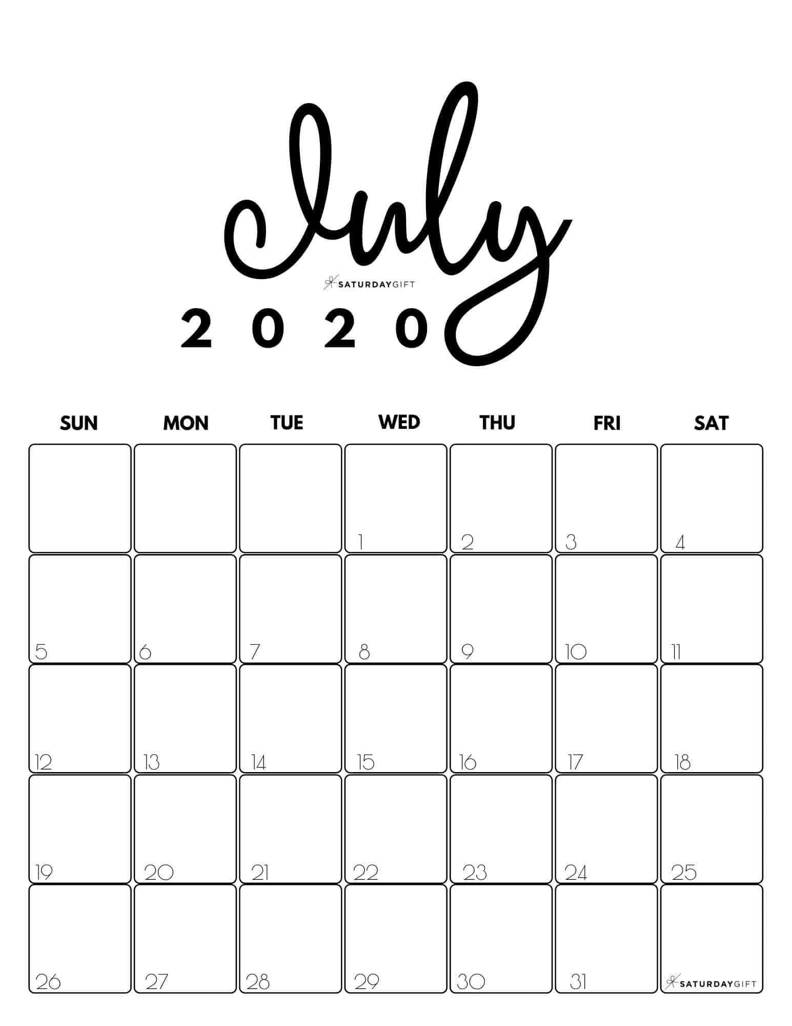 Cute Free Printable July 2021 Calendar Saturdaygift In 2020 July Calendar Cute Calendar Calendar Design
