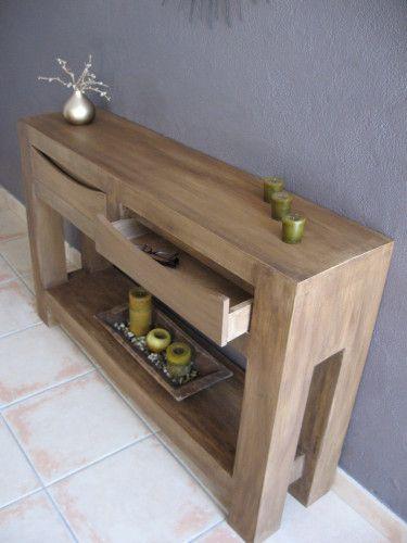 table console en carton imitation bois