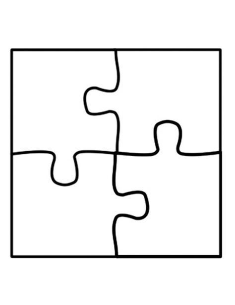 puzzle template four piece jigsaw puzzle template - use for number ...