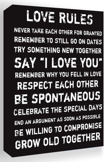 Love Rules Black & White Canvas Wall Art by Inspiring Word Play on ...
