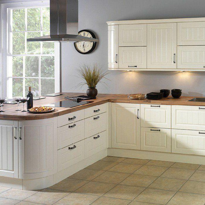 Küche Streichen Ideen Creme Einrichtung Bodenfliesen Hellgraue ...   Küche  Streichen Ideen Bilder