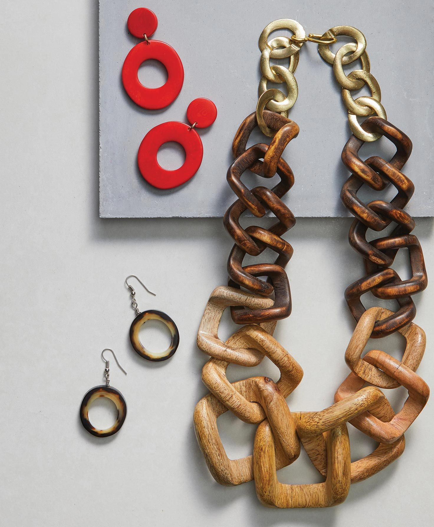 These fiery red dangle earrings are a knockout with chunky geometric