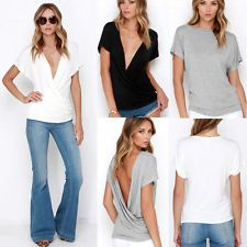 Women's Sexy Fashion Loose Cotton V-Neck Tops Short Sleeve T-Shirt Casual Blouse