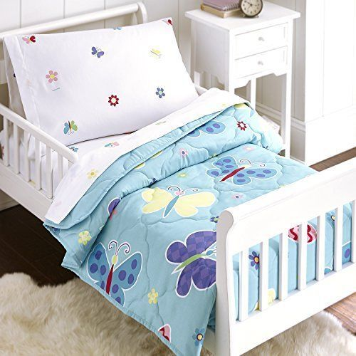 Kids Butterfly Garden Soft Comforter Bedding Set 4 Pcs Toddler Bed In Bag  Girls