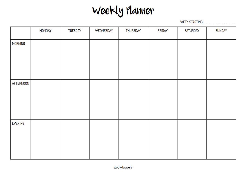 Study Bravely Weekly Planner Printable Weekly Planner Free Simple Weekly Planner