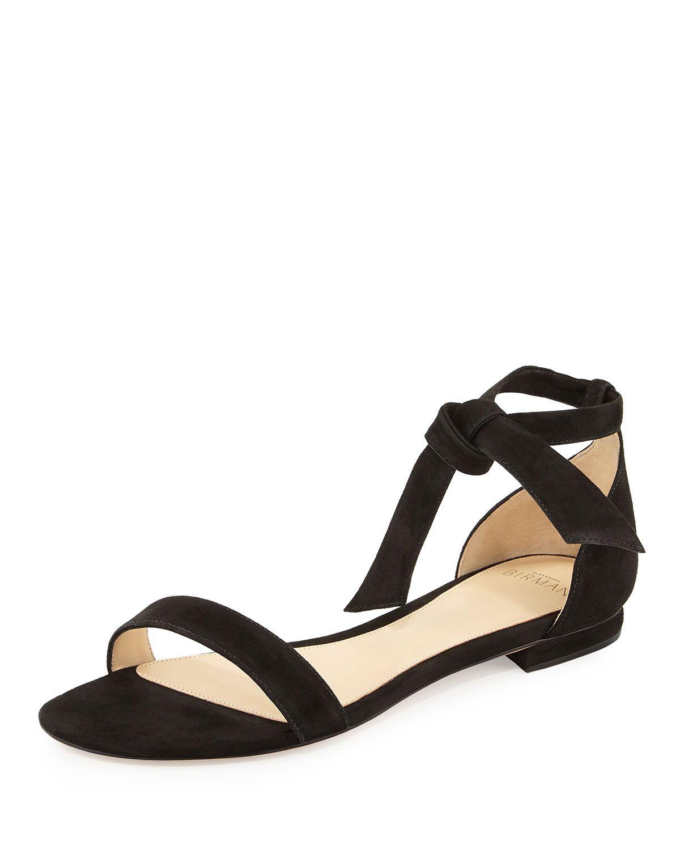 Clarita Suede Ankle-Tie Flat Sandal, Black, Women's, Size: 39.5B/9.5B - Alexandre Birman