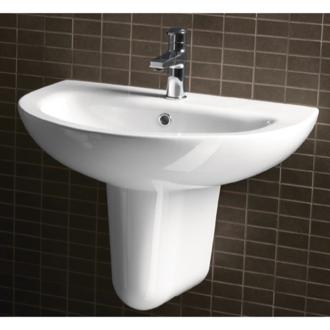 Delightful 26 Inch Round Ceramic Wall Mounted Half Pedestal Bathroom Sink MCITY3113  $308.