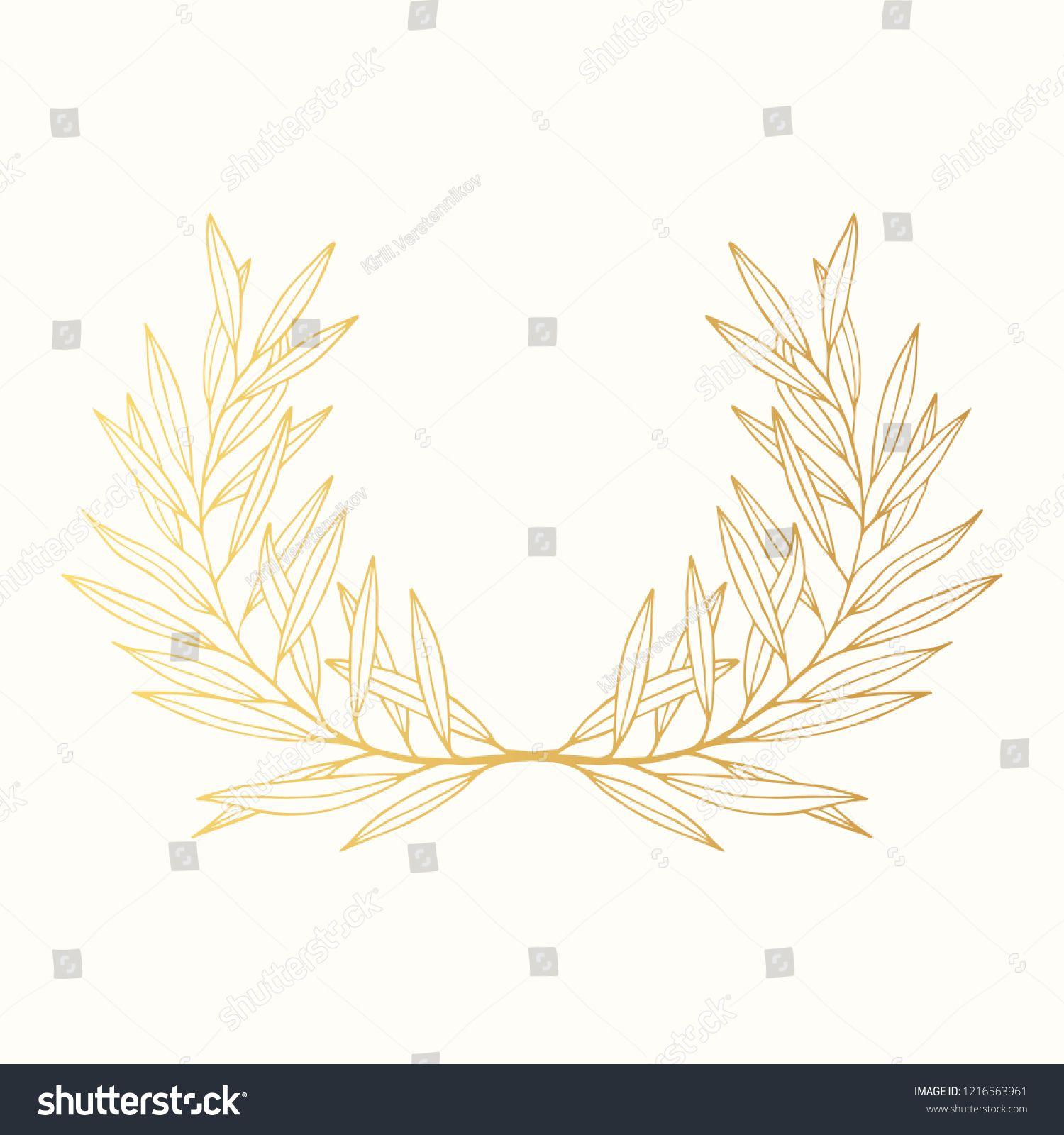 Golden Award Olive Laurel Wreath Royal Winner Greek Olive Branch Gold Crown Vector Isolated Illustration Wreat Gold Olive Branch Laurel Wreath Golden Awards