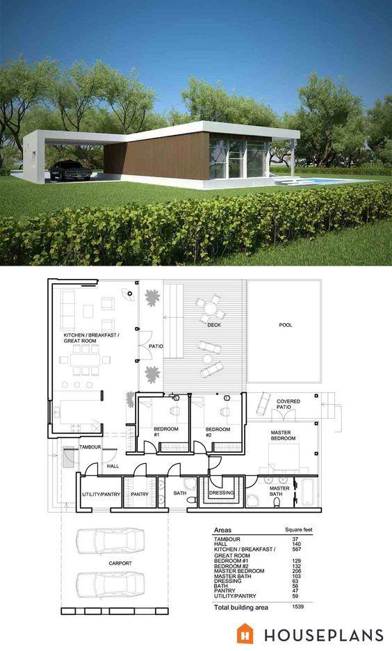 Modern Style House Plan 3 Beds 2 Baths 1539 Sq Ft Plan 552 2 Modern Style House Plans Small Modern House Plans Modern House Plan
