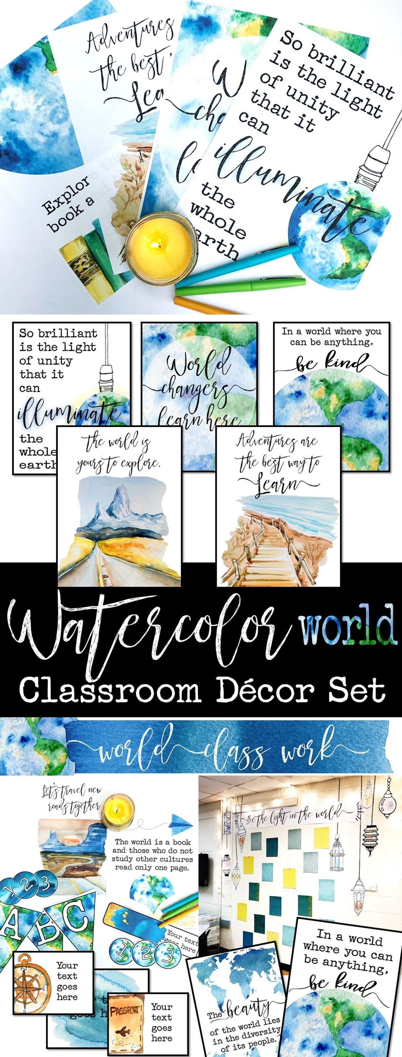 Watercolor World Classroom Decor: World Literature, Geography, History #classroomdecor