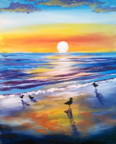 Sunrise Birds Sunrise Painting Night Painting Beach Painting