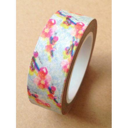 Ruban Washi Tape  ♥ 15mm ♥ 10 mètres ♥ Vert & rose  : Masking tape par la-folie-du-ruban