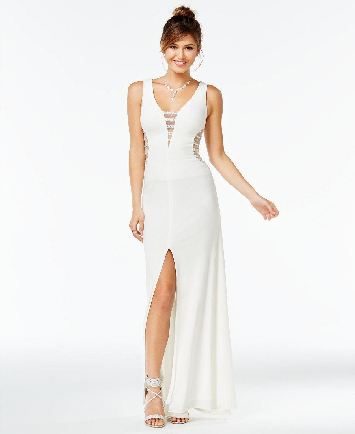 1e8e8d0dff Say Yes to the Prom Embellished Illusion Stripe Gown
