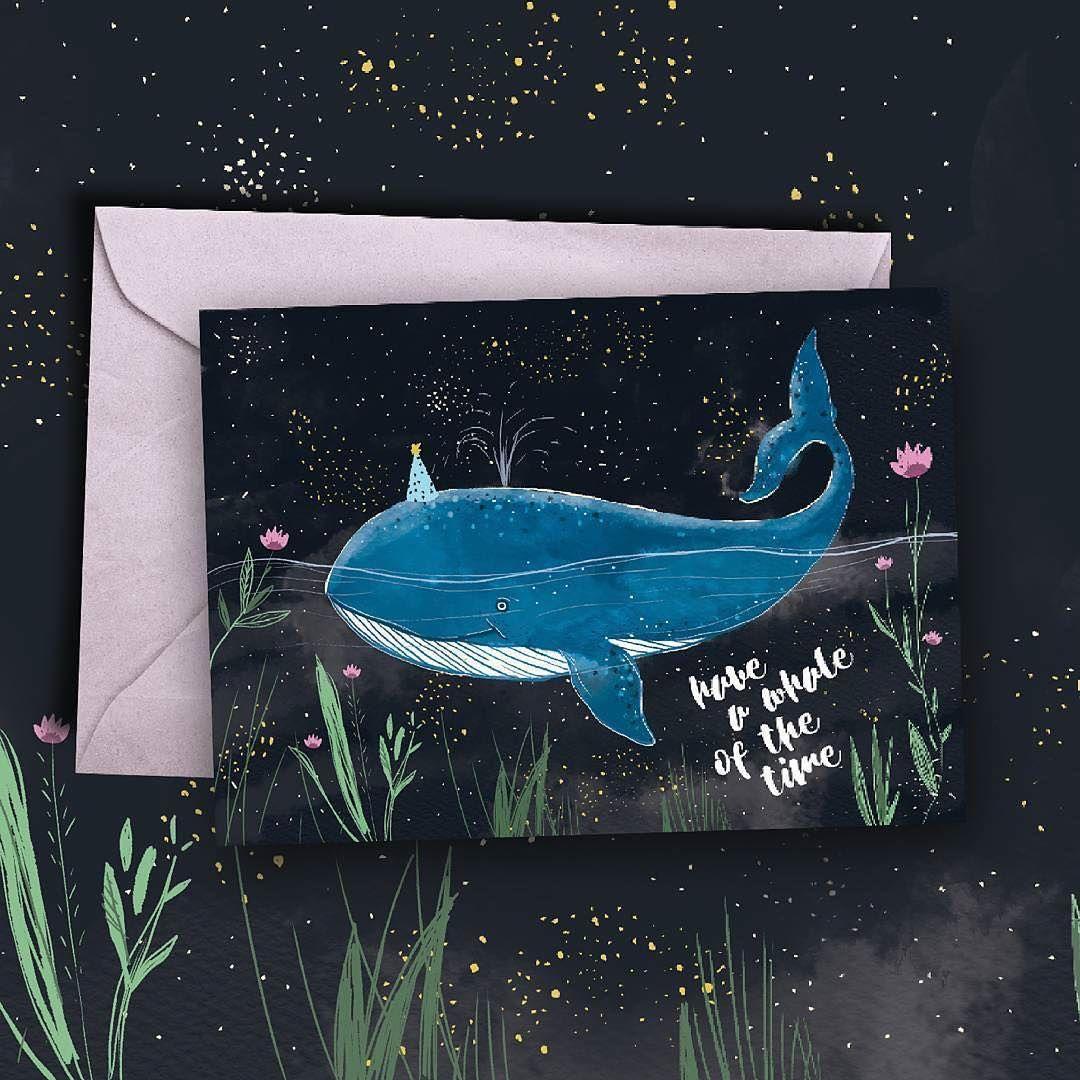 Printable whale birthday card
