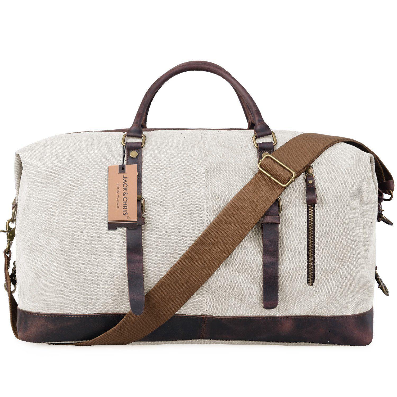 ada2e589a7 Jack Chris Canvas Leather Travel Tote Duffel Shoulder Handbag Bag CB1004  (Beige)