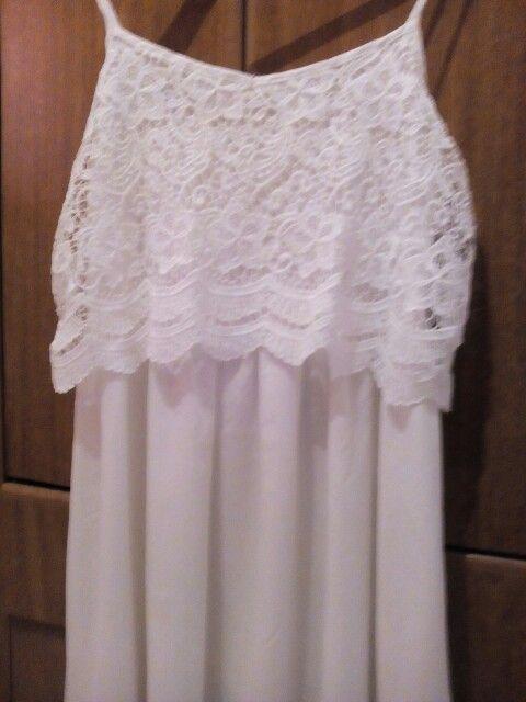 Vestido blanco con doble tul encaje y mosculosa