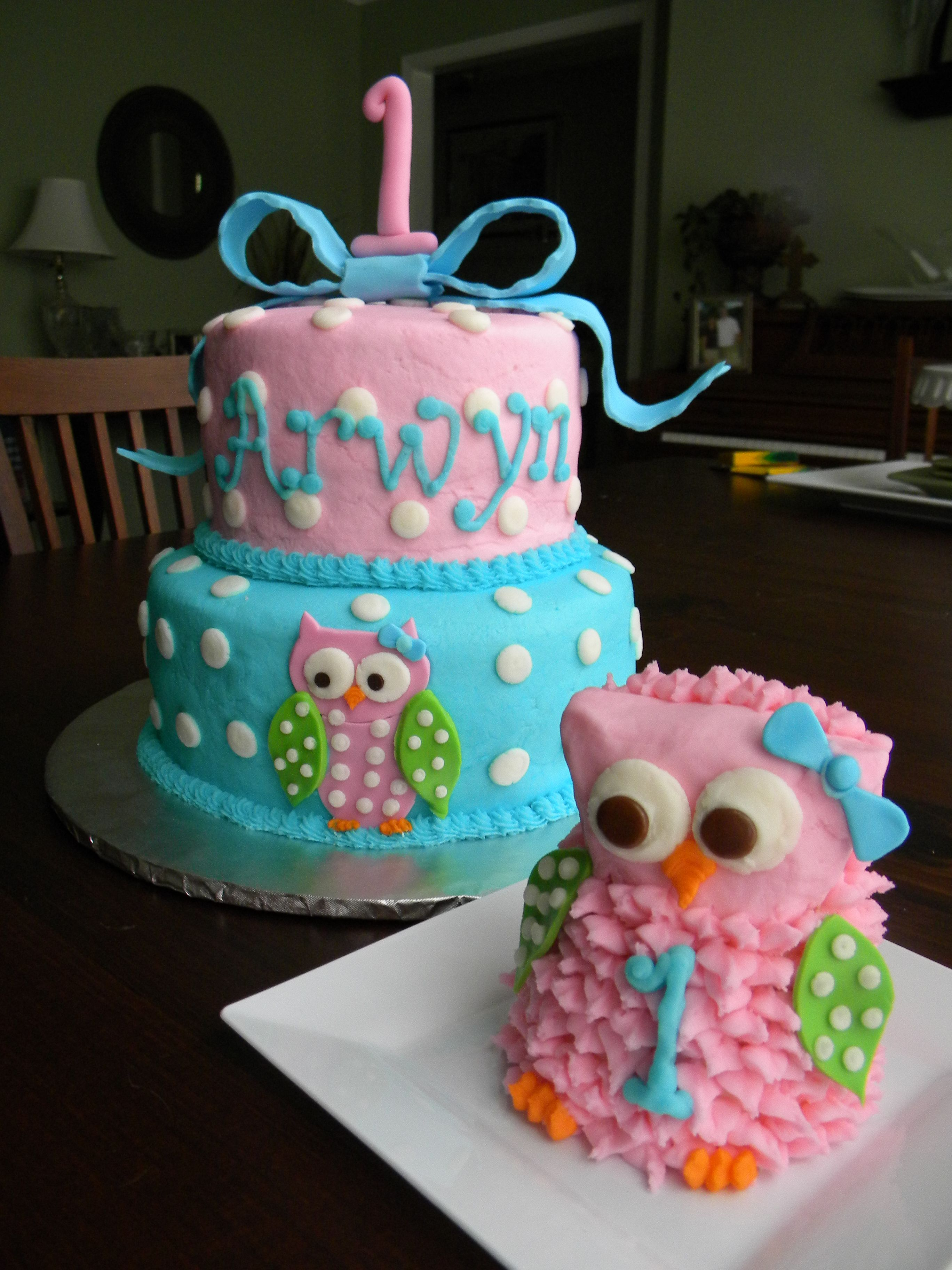 Sensational Owl 1St Birthday Cake And Smash Cake Owl Cake Birthday First Funny Birthday Cards Online Hendilapandamsfinfo