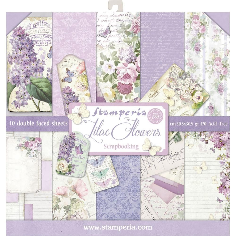 12x12 Paper Pad Lilac 10 Double Sided Sheets By Stamperia For Scrapbooks Cards Crafting Paper Pads Scrapbook Paper Paper Flowers