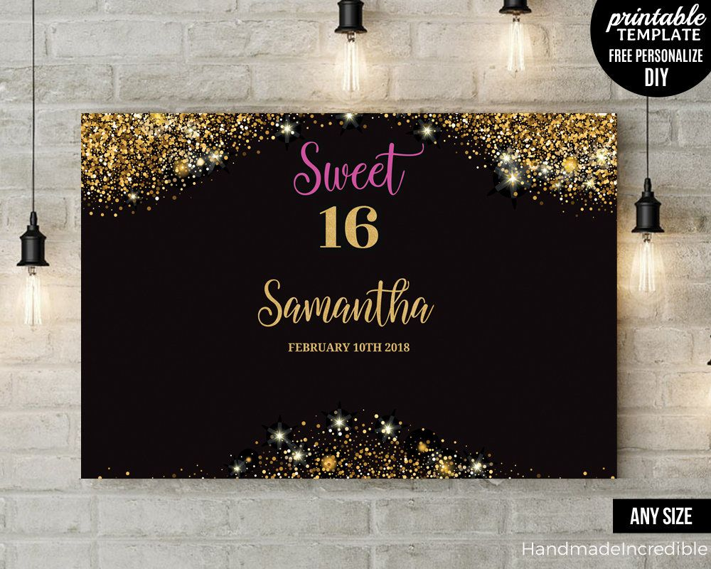 Gold Sweet Sixteen Party Backdrop Template Printable Black And Gold Backdrop Pdf Print Ready D Birthday Banner Template Banner Template Backdrops For Parties