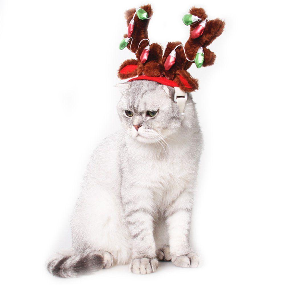 Dog Elk Reindeer Antler Hat Cap Bling Dog Cat Pet Christmas Costume Outfits Small Dog Headwear Hair Grooming Accessor Christmas Dog Hat Christmas Dog Dog Bling