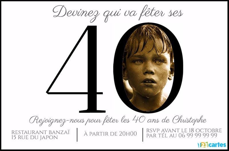 Invitation anniversaire 40 ans chiffres avec photo | Invitation anniversaire 40 ans, Invitation ...